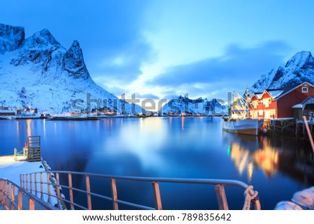 The fisherman village Reine on Lofoten Islands by night, Norway