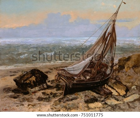 THE FISHING BOAT, by Gustave Courbet, 1865, French painting, oil on canvas. Courbet painted this work during visit to Trouville with James McNeill Whistler in autumn 1865. The physicality of the fishi