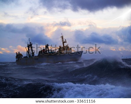The fishing boat struggles for a life in a storm high water