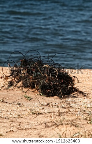 The fishing net is abandoned on the shore by poachers. Cheap (disposable) nets pollute water bodies and kill many fish
