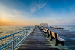 The fishing pier at sunrise in Ventnor City, New Jersey.