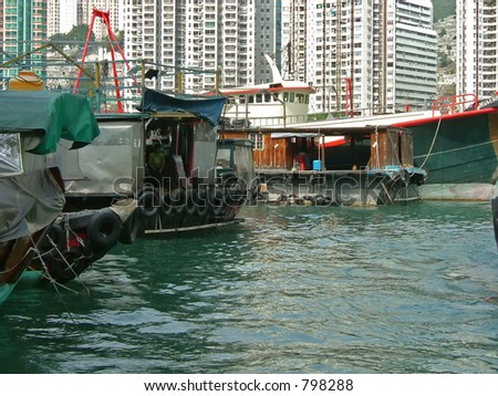 The fishing village of Aberdeen in Hong Kong, where people live on boats.
