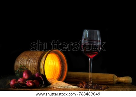 The Five R'S Of Raddish, Rice, Red, Raisins, Rolling In A Still Life Collection Photo stock ©
