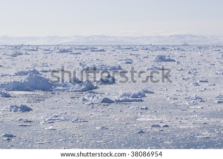 The fjord of Ilulissat, Greenland. The ice i totally covering the waters. It's a really beautiful sight and the sounds seem to dampen from all the snow and ice. Tranquillity!