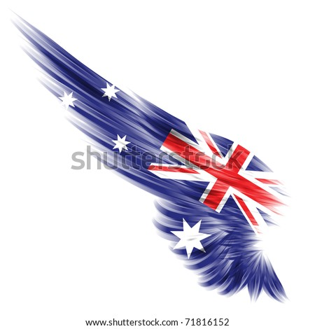 The flag of Australia on Abstract wing and white background