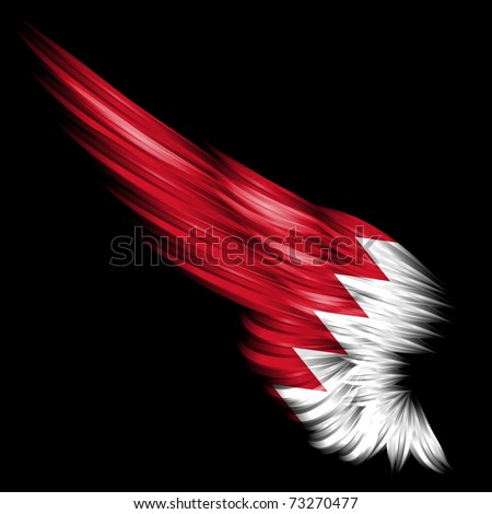 The flag of Bahrain on wing and black background