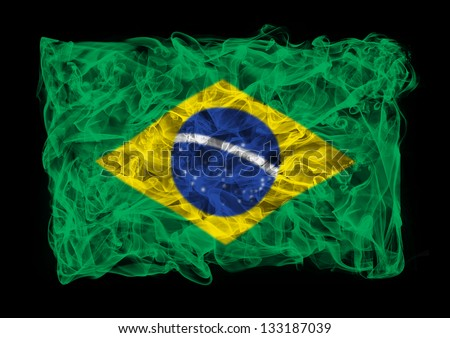 The flag of Brasil consists of a smoke