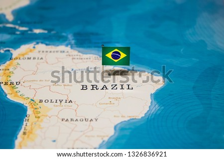 the Flag of brazil in the world map #1326836921