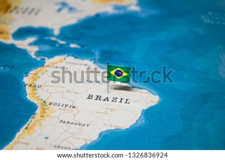 the Flag of brazil in the world map #1326836924