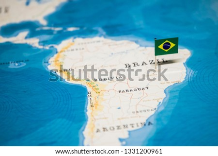 the Flag of brazil on the cities in the world map #1331200961