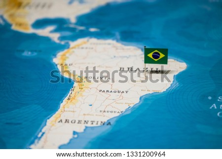 the Flag of brazil on the cities in the world map #1331200964