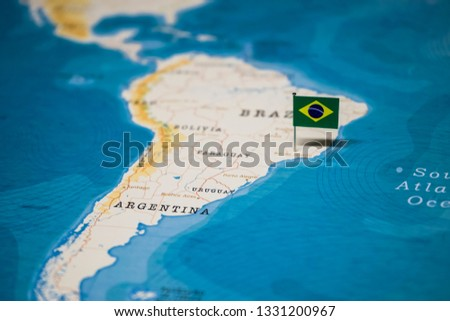 the Flag of brazil on the cities in the world map #1331200967