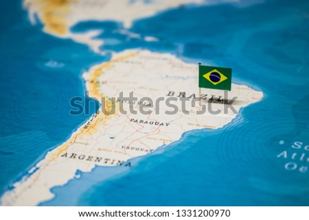 the Flag of brazil on the cities in the world map #1331200970