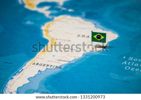the Flag of brazil on the cities in the world map #1331200973