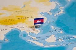 The Flag of Cambodia in the World Map