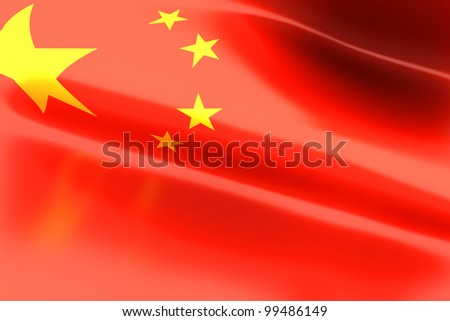 The Flag of China. 3d rendered illustration.