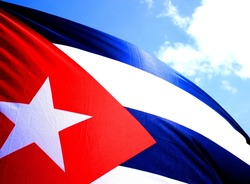 The flag of Cuba blowing in the Wind.