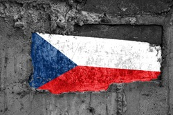 The flag of Czech Republic on a dirty wooden surface, built into a concrete base, with scuffs and scratches. Loss or destruction conception.