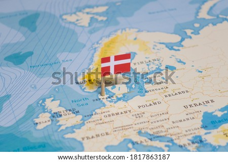 The Flag of Denmark in the World Map Foto stock ©