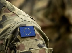 The Flag of Europe on military uniform. Collage.