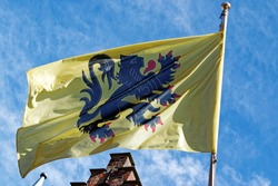 The flag of Flanders, called the Vlaamse Leeuw (