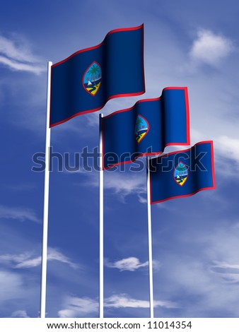 The flag of Guam flying in front of a blue sky