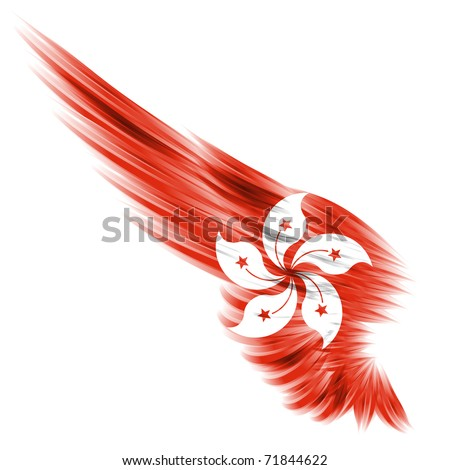 The flag of Hong Kong on Abstract wing and white background