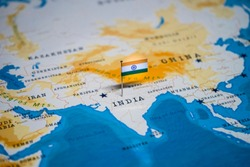 the Flag of India in the world map