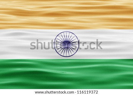 The flag of India on water
