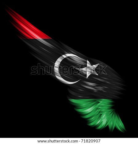 The Flag of Libya between 1951-69 on abstract wing
