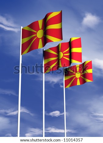 The flag of Macedonia flies in front of a blue sky