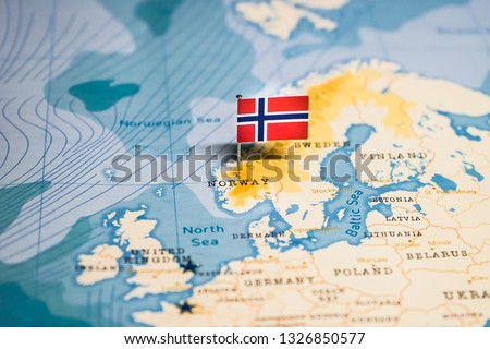 Photo of  the Flag of norway in the world map