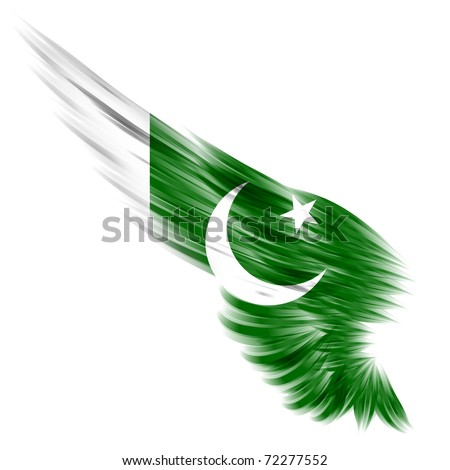 The flag of Pakistan on Abstract wing and white background