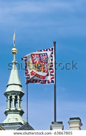 stock photo : The flag of Prague, Czech Republic