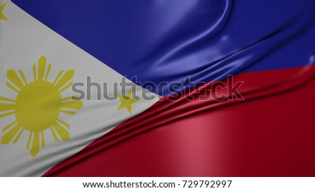 The flag of Republic of the Philippines beautiful waving and Specular highlight. 3d rendering.