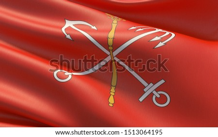 The flag of Saint Petersburg, High resolution close-up 3D illustration. Flags of the federal subjects of Russia.