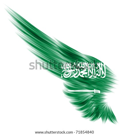 The flag of Saudi Arabia on Abstract wing and white background
