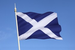 The Flag of Scotland, also known as Saint Andrew's Cross or the Saltire - Scottish Independence. Scotland is a part of the United Kingdom of Great Britain.