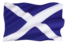 The flag of Scotland - also known as St Andrews Cross or the Saltire - isolated on a white background.
