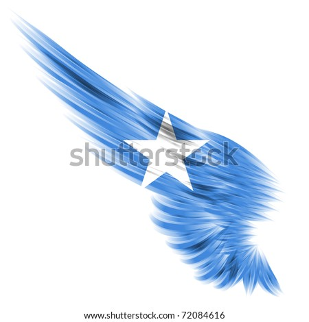 The flag of Somalia on Abstract wing and white background