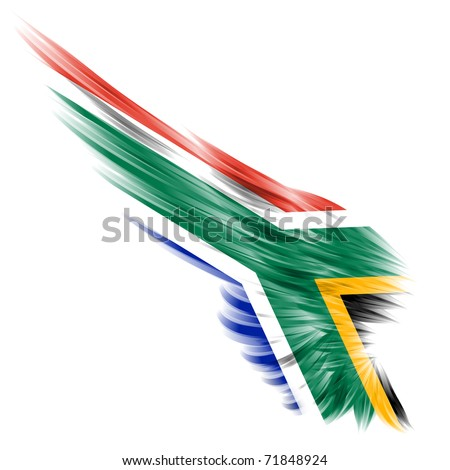 The flag of South Africa on Abstract wing and white background