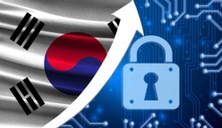 The flag of South Korea together with the blue cryptogram and the up arrow with the lock. This concept shows the increased level of security of the crypto currency and blockchain wallets.