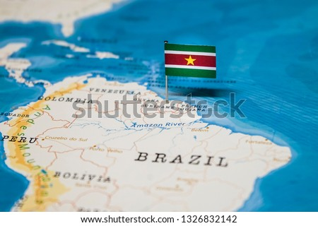 the Flag of suriname in the world map #1326832142