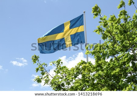 The flag of Sweden (Swedish: Sveriges flagga) consists of a yellow or gold Nordic Cross.