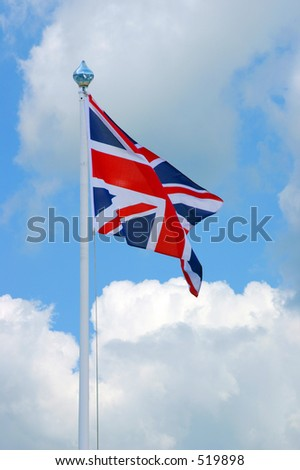 The flag of the British Isles, blowing in the breeze.