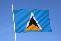 The flag of the Caribbean island of Saint Lucia was adopted on March 1 1967. The triangles represent the islands famous twin Pitons at Soufriere.