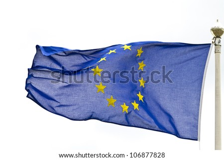 The Flag of The European Union flying from an ornate pole