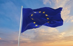 The Flag Of The European Union  waving in the wind.