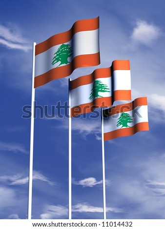 The flag of the Lebanon flying in a breeze