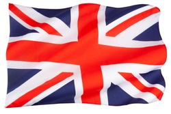 The flag of the United Kingdom of Great Britain and Northern Ireland - The Union Jack - isolated on white.